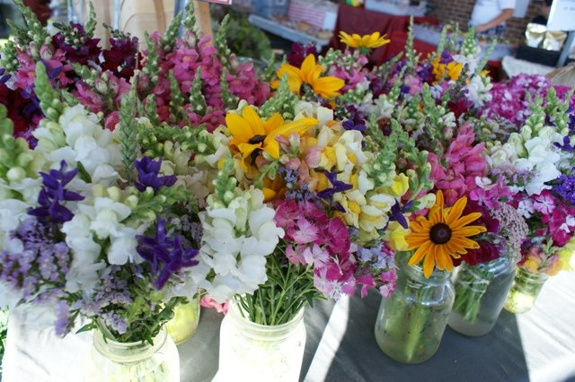 Flowers at the market in August