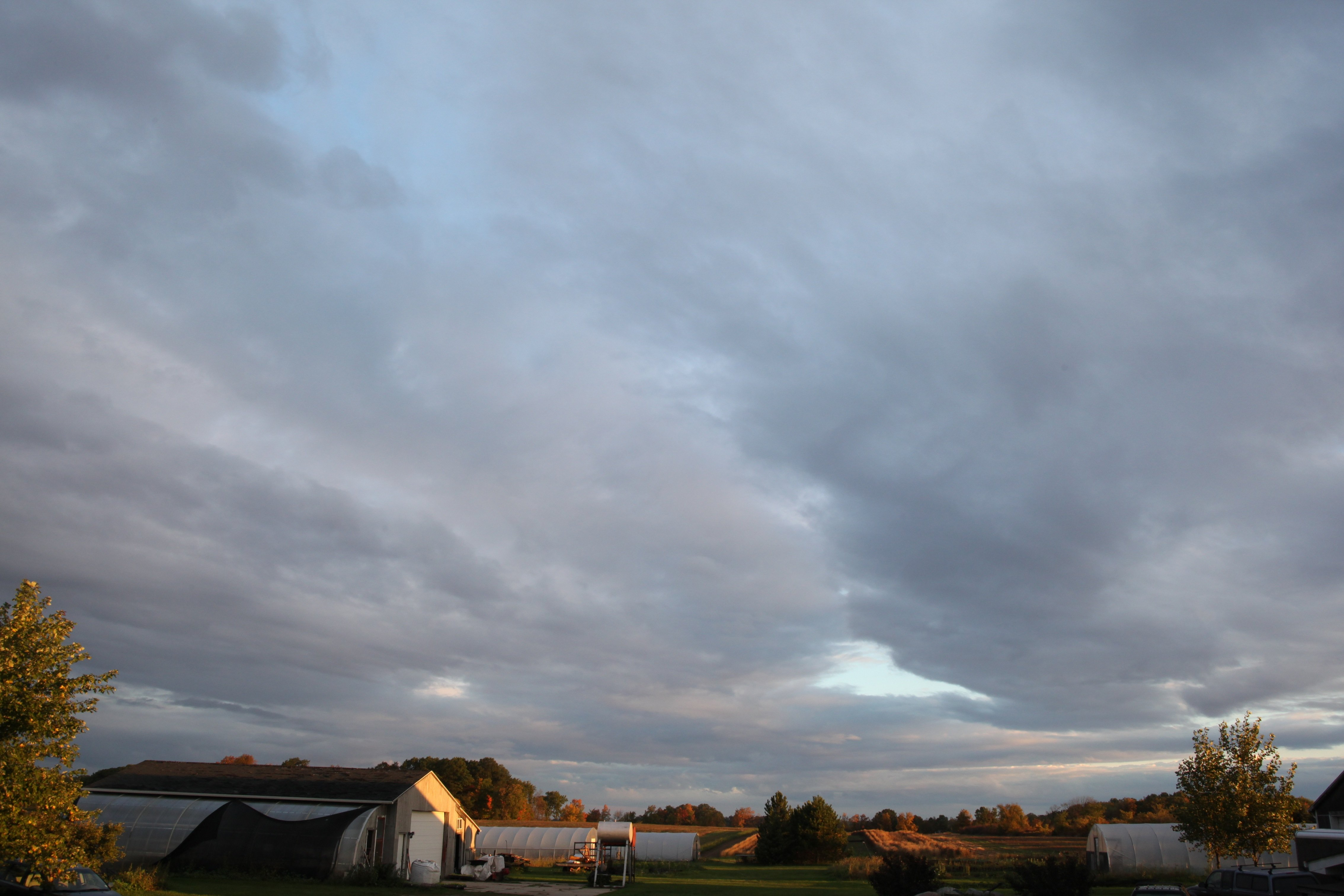 fall clouds over farm