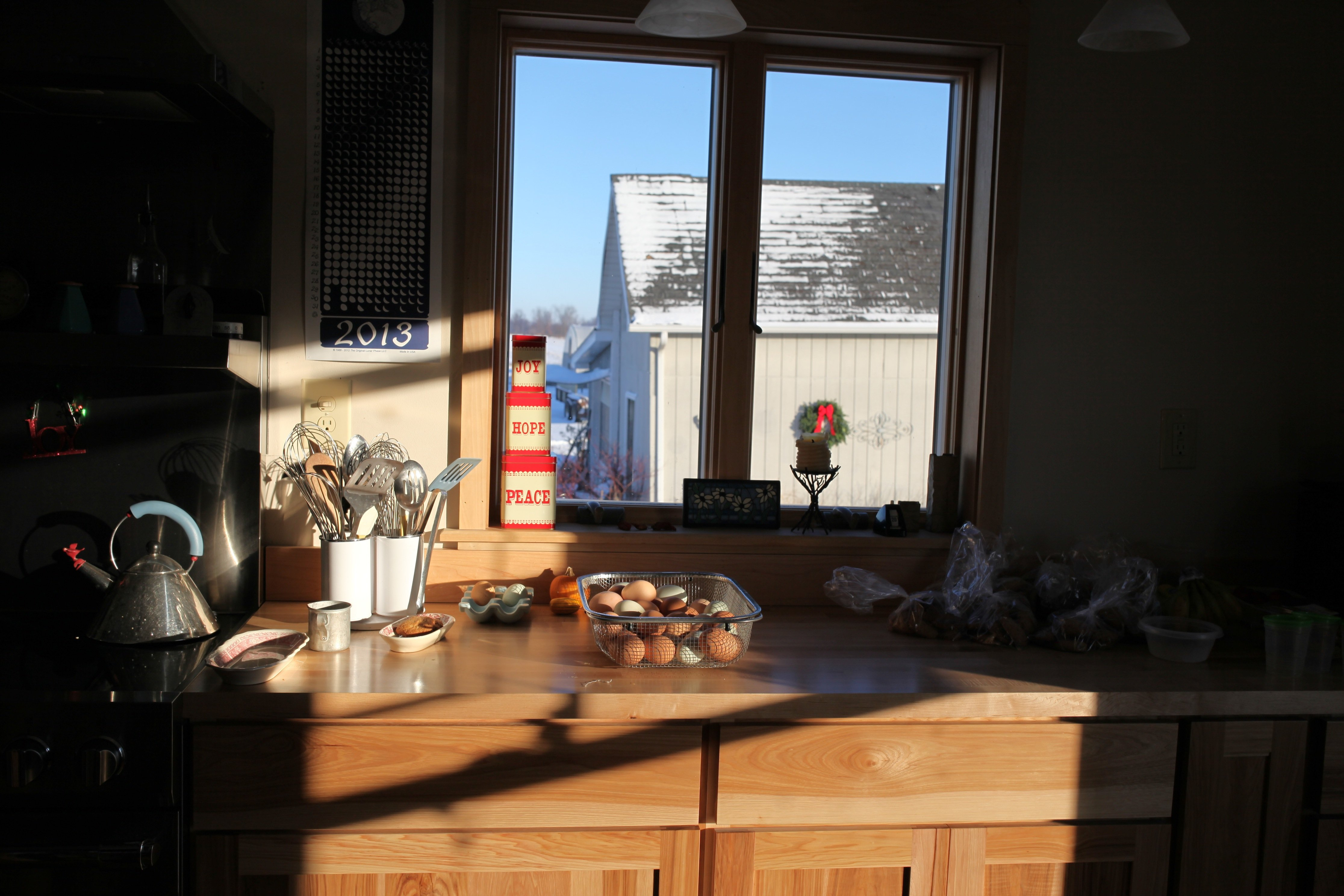 Out the kitchen window w: light