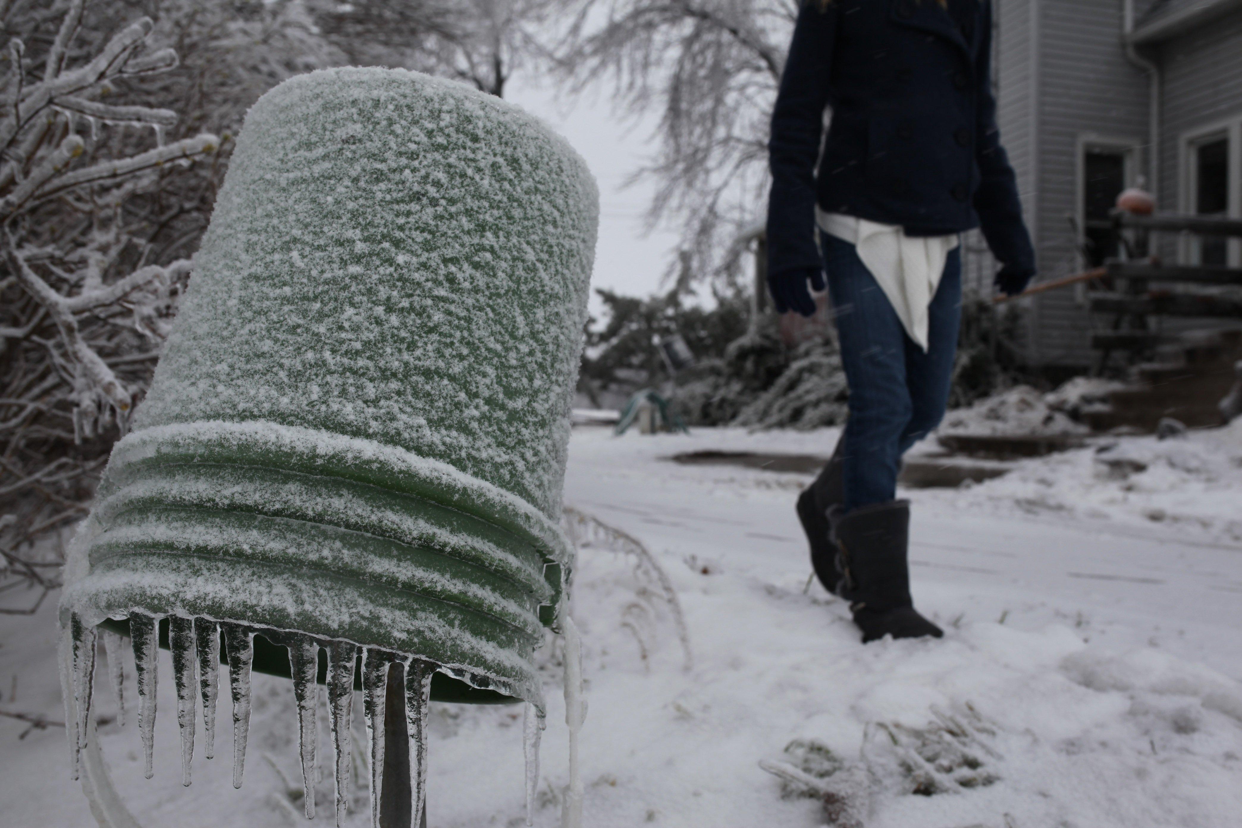 ice storm; frozen bucket