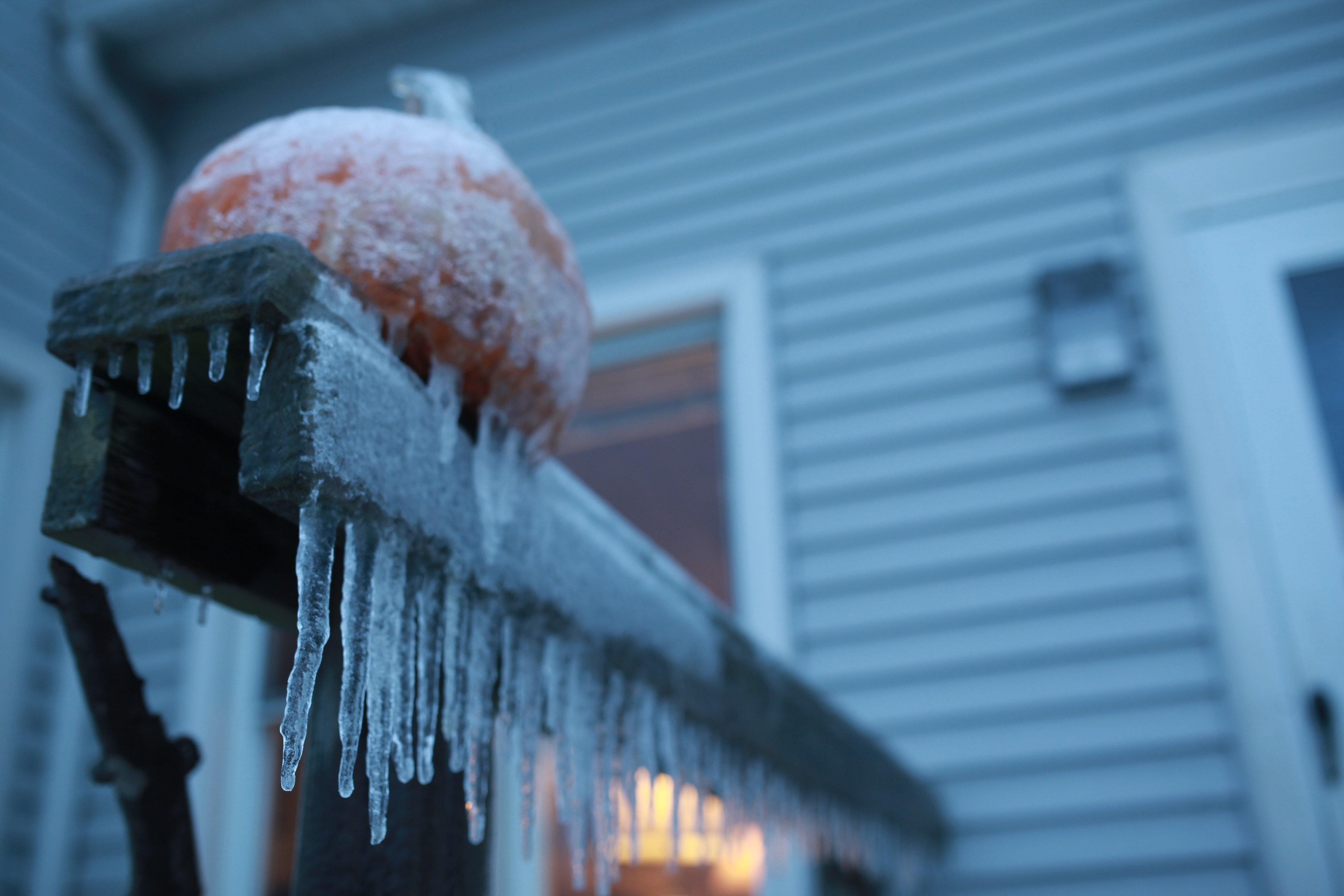 ice storm frozen pumpkin