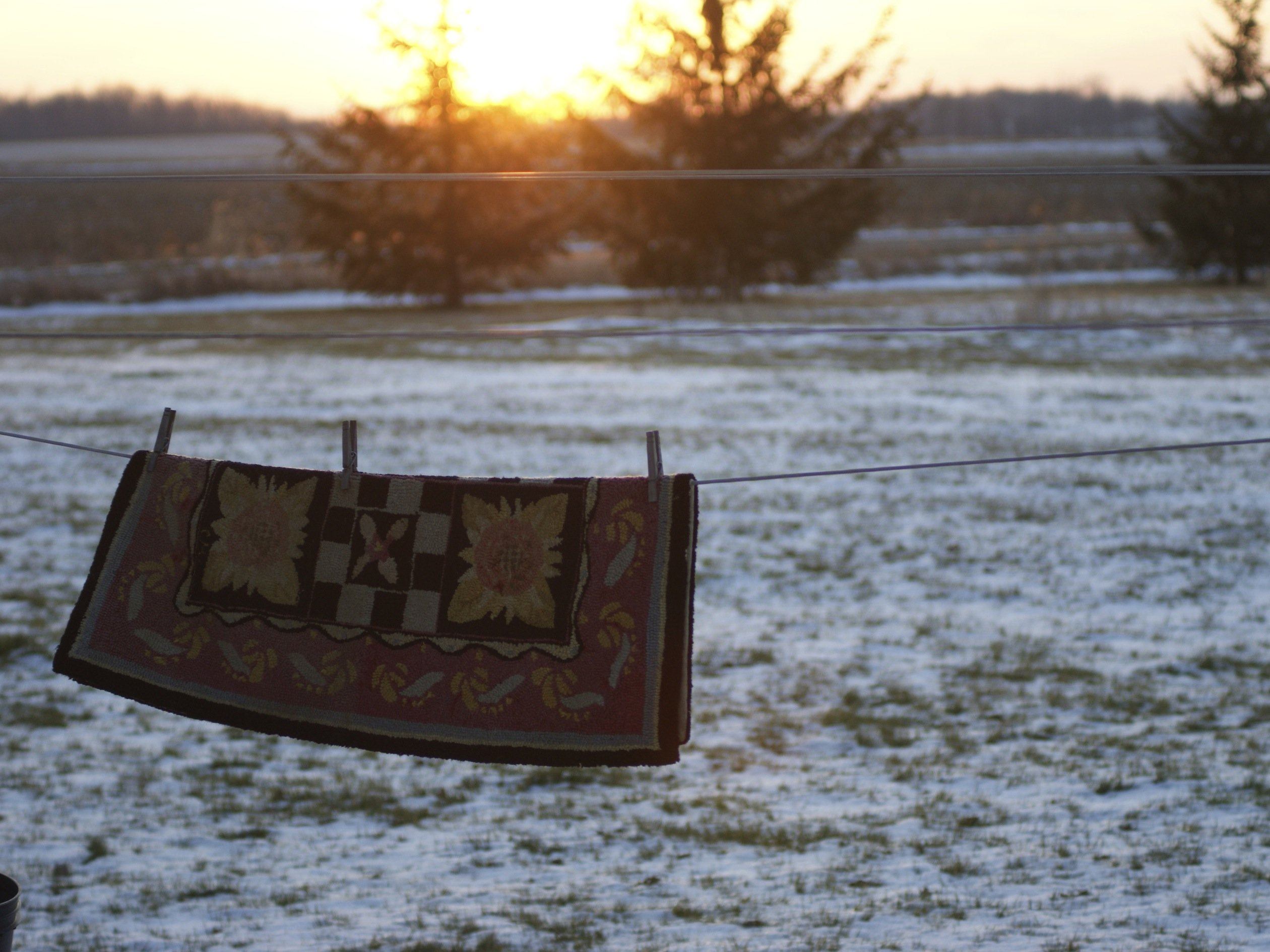 clothes line in winter