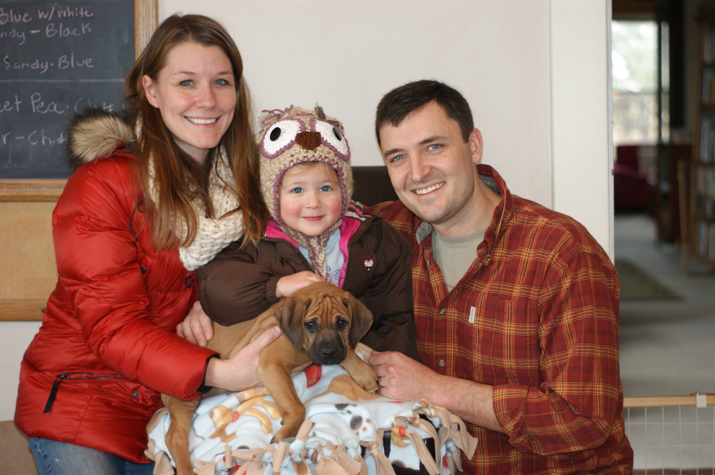 Puppy Penny finds a home