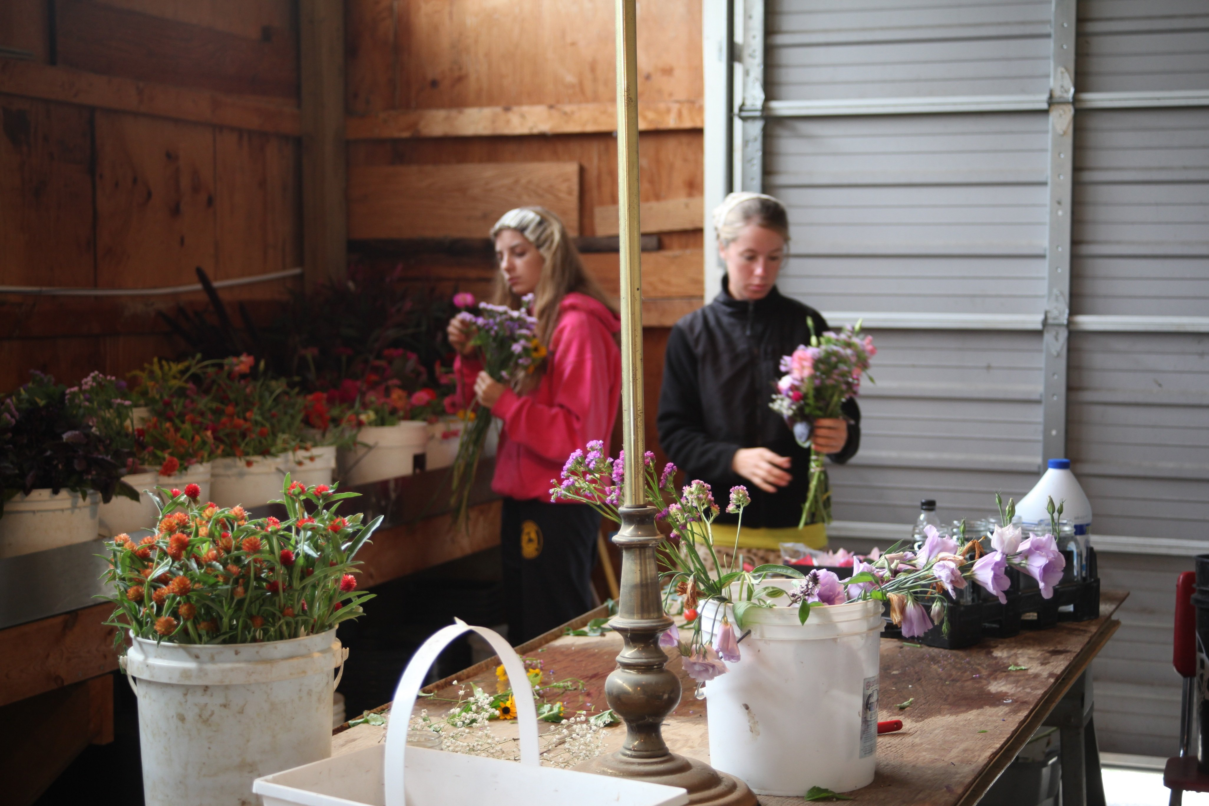 grace and cody making bouquets