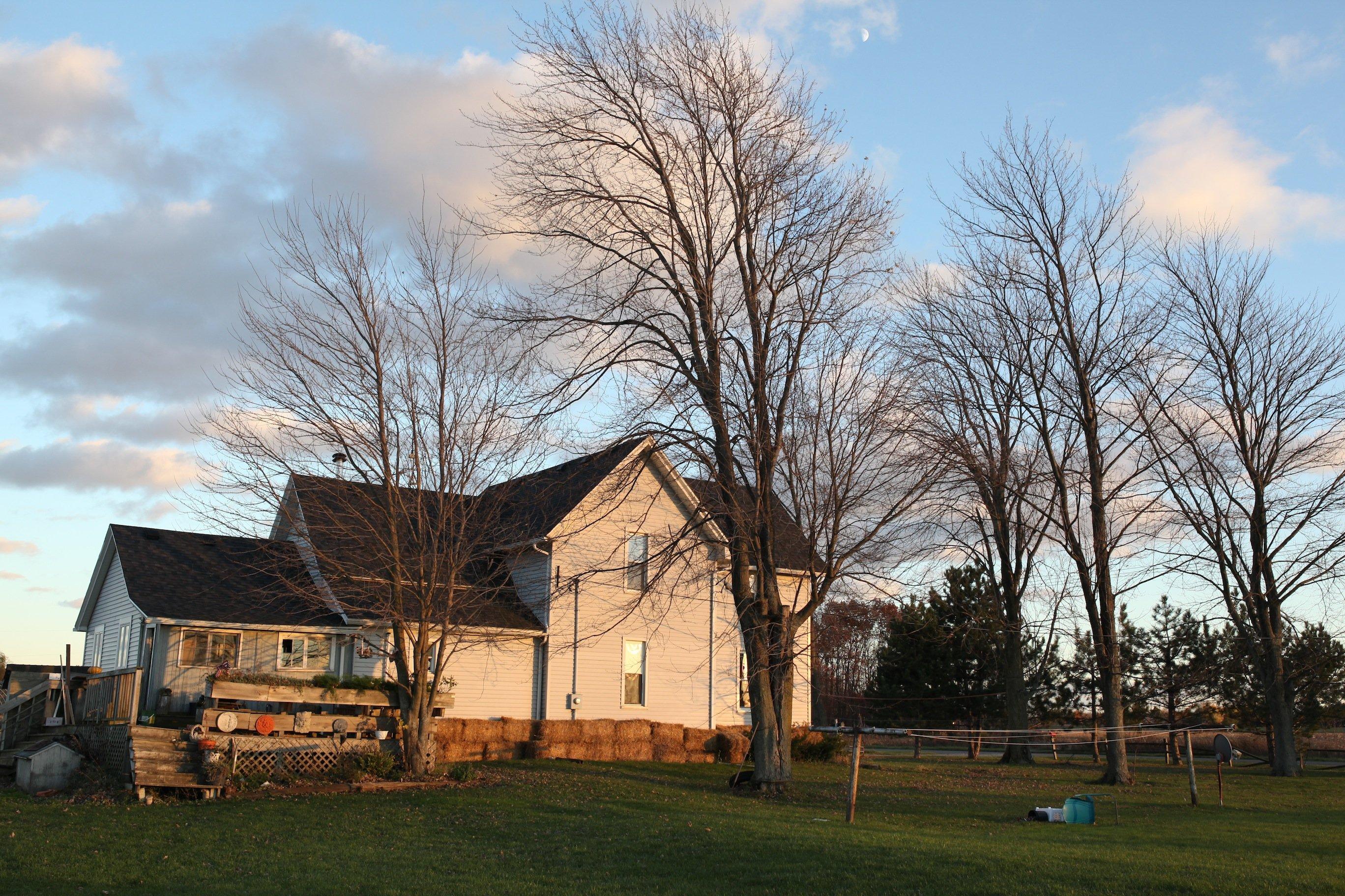 farmhouse in fall w: bare trees