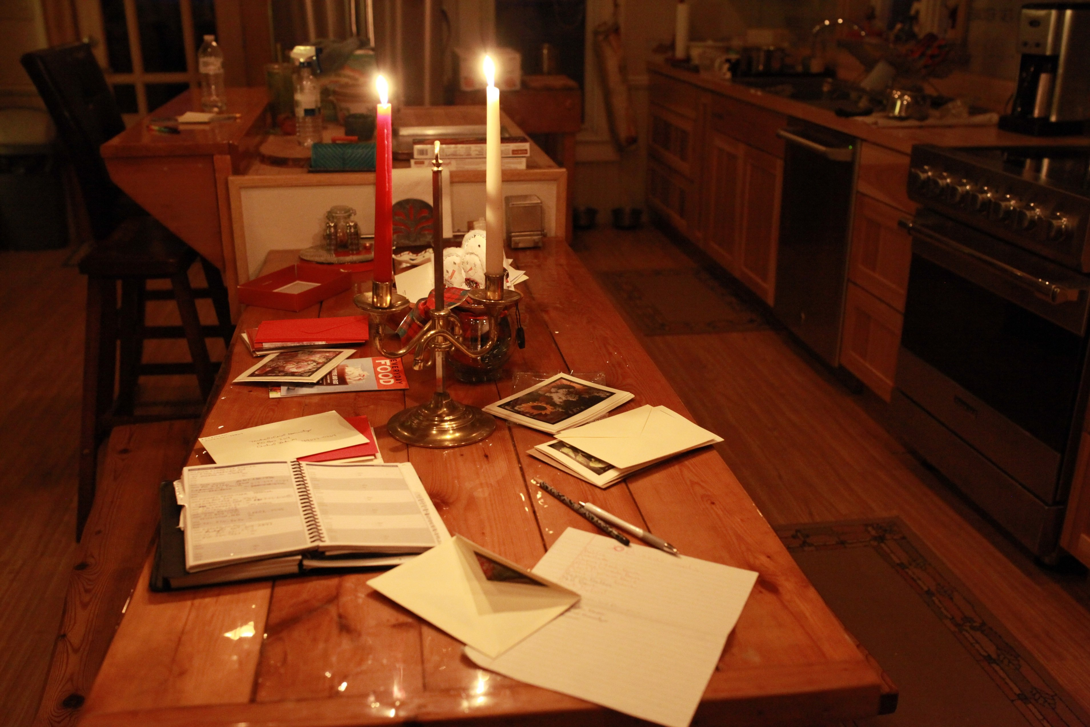 christmas cards by candlelight