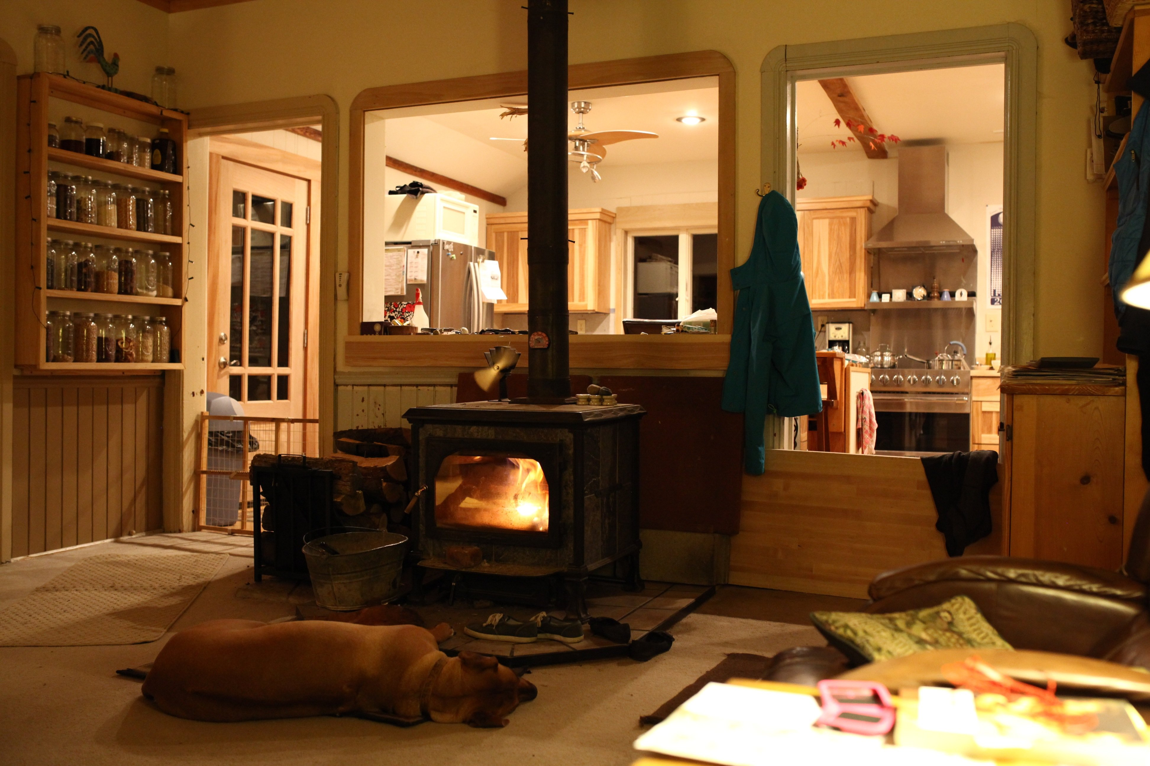 the wood stove room