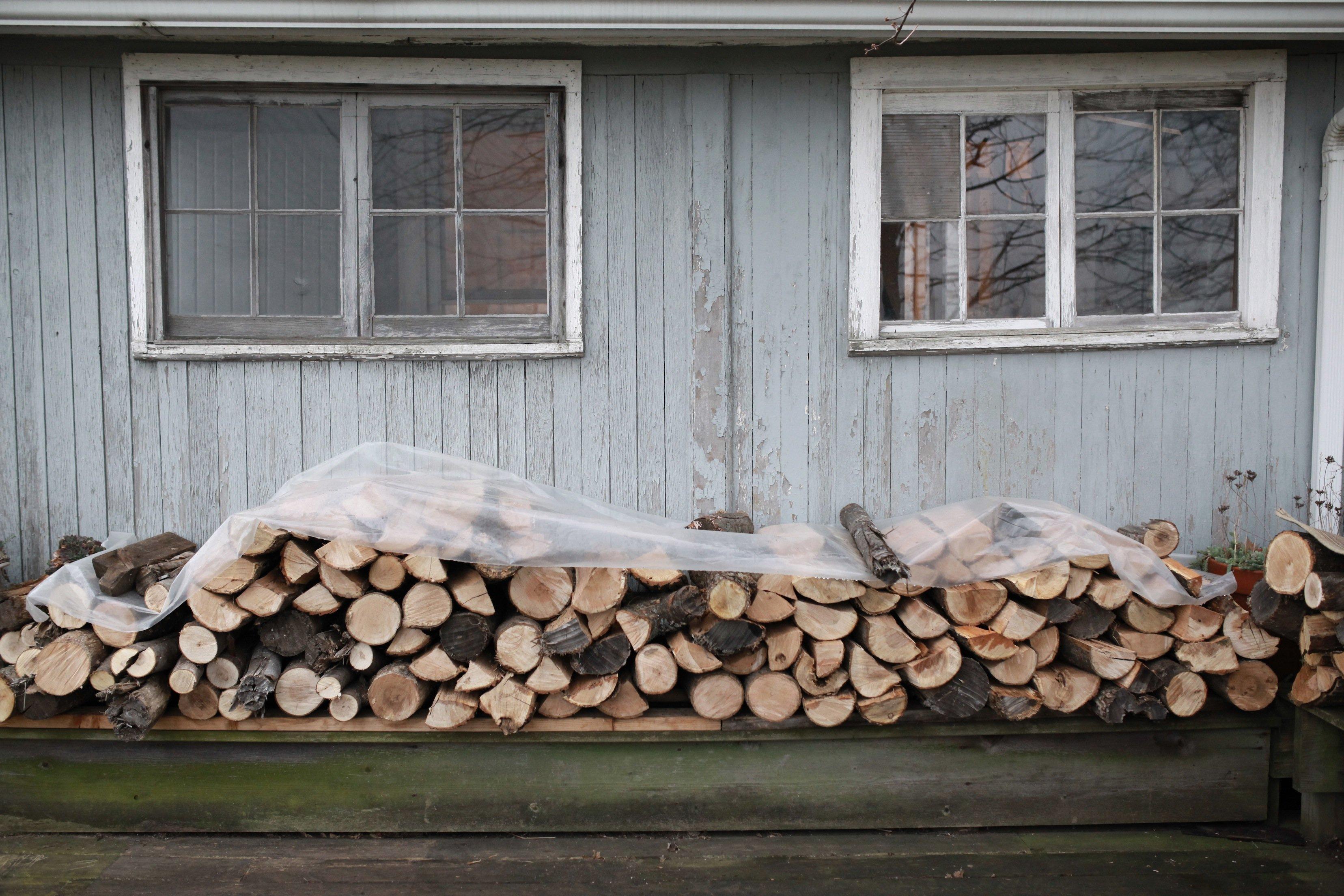 wood pile on deck