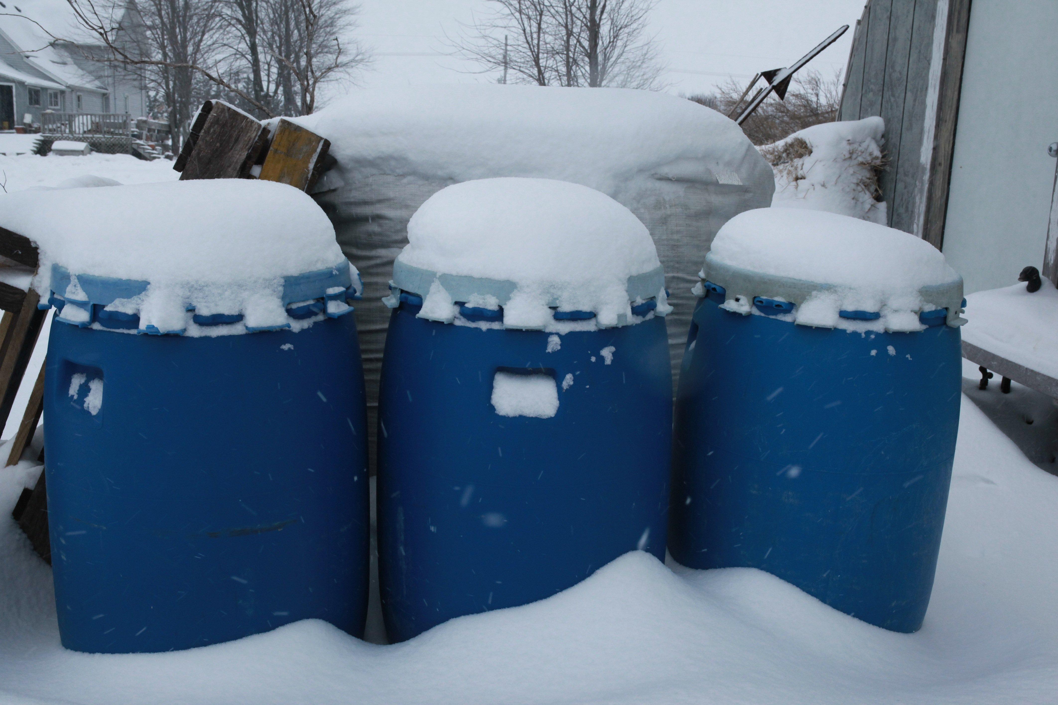 blue barrels w: snow