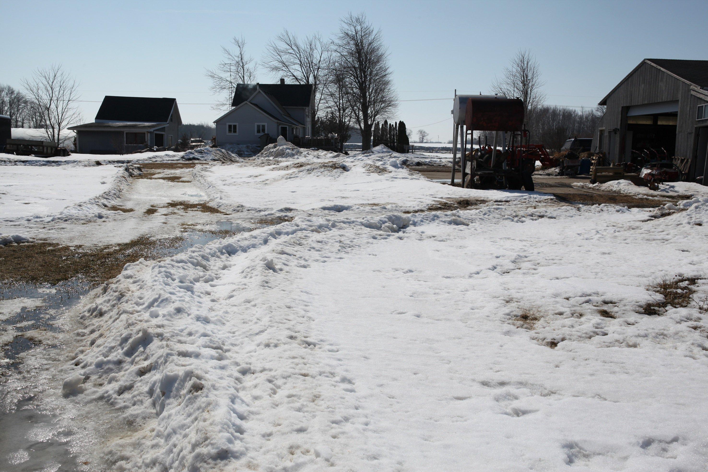 snowy farm in march
