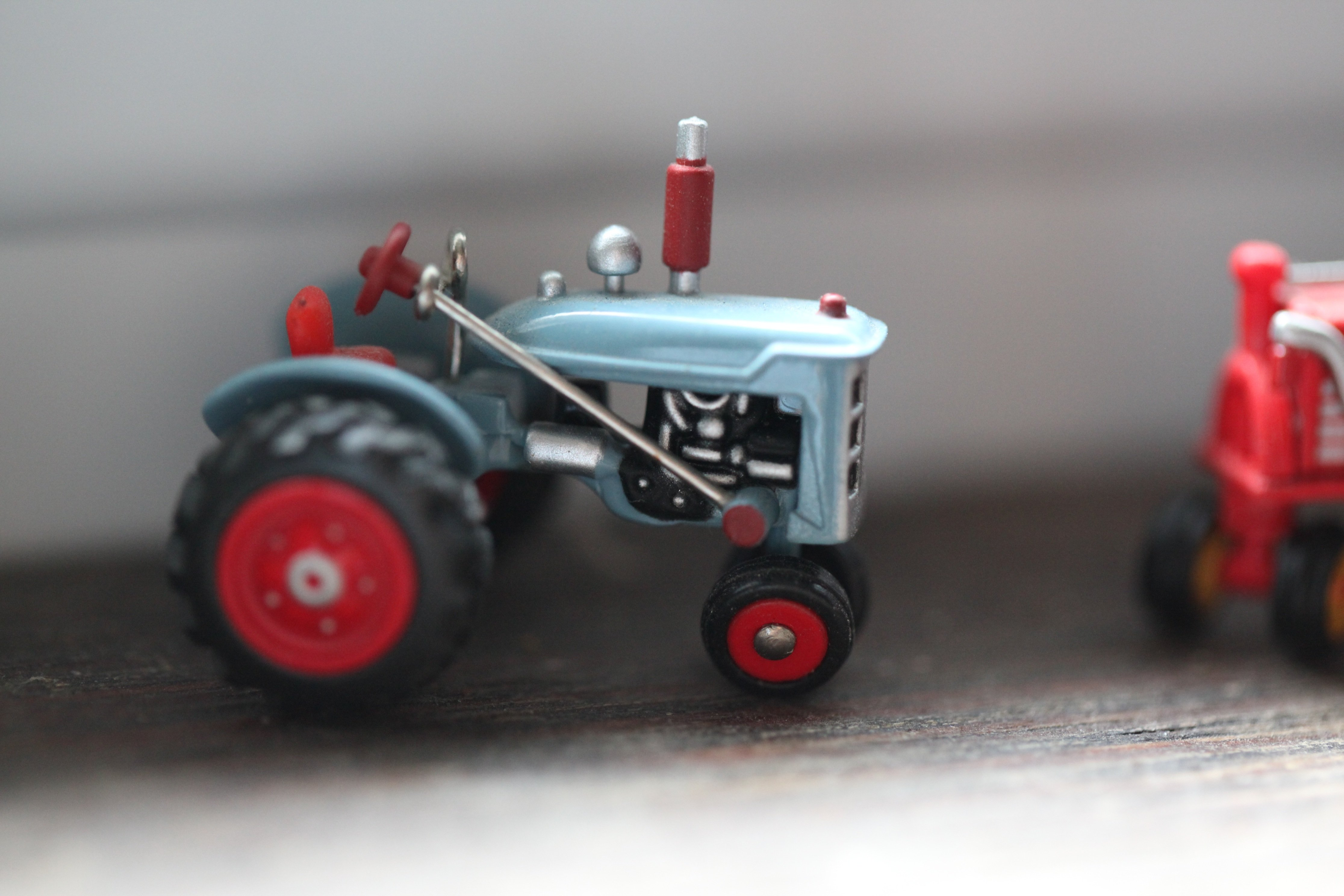 tiny blue tractor