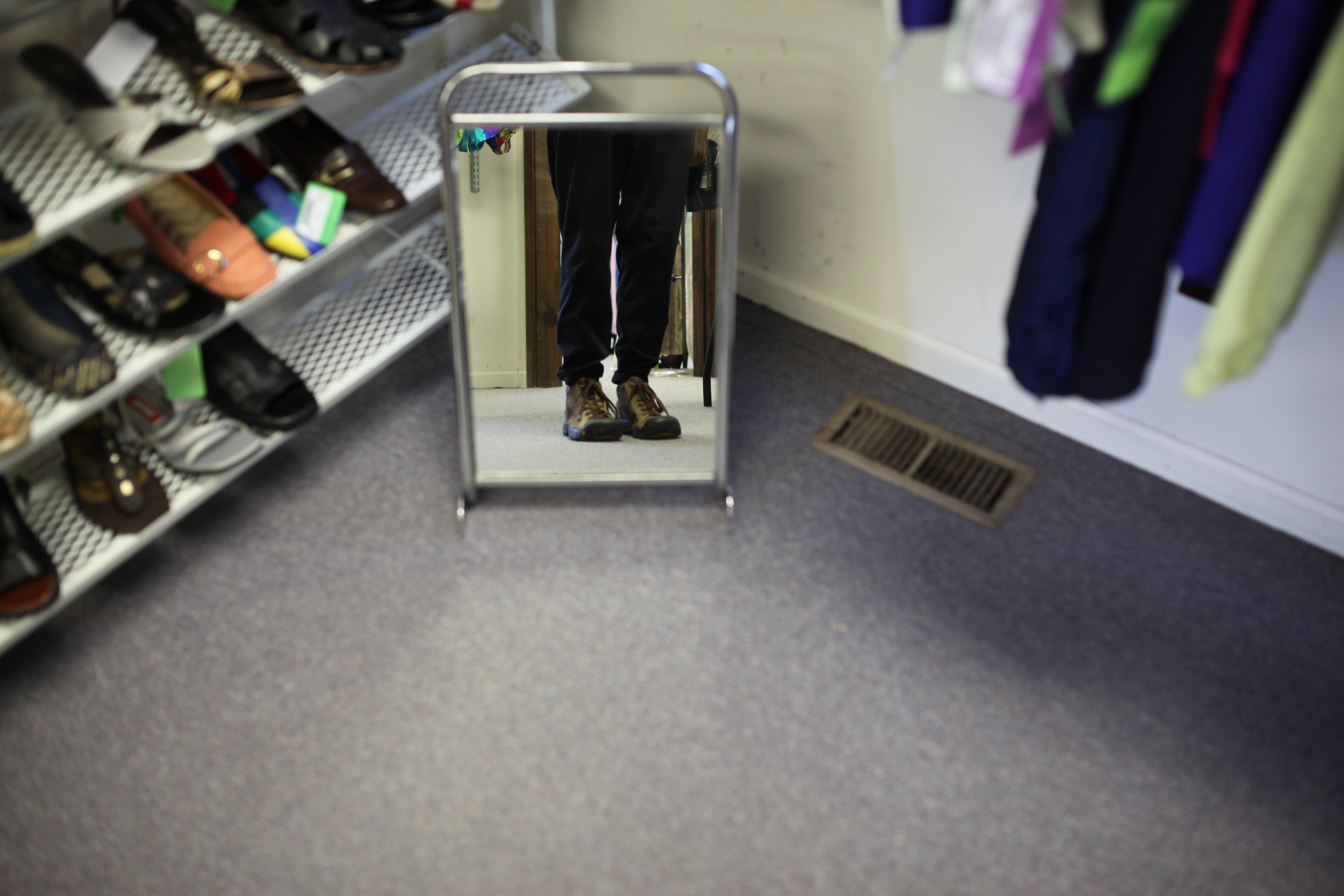 feet in mirror